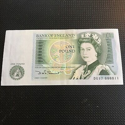 Bank Of England One Pound Note, D H F Somerset . Vintage. Collectors. • 2£