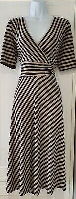 Womens Monsoon Blue Beige Stripe Crossover Stretch Fit And Flare Midi Dress 12. • 37.99£