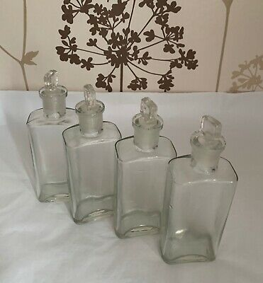 4 Clear Glass Vintage Small Apothecary Chemist Bottles + Stoppers 14cmH X 4.7cmD • 32.99£