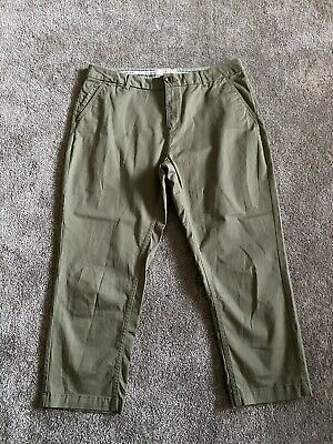 Ladies FATFACE Khaki Green Soft Feel Chinos Cropped Trousers Size UK 14  • 13£