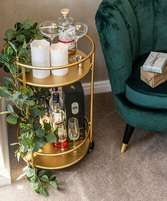 £59.99 • Buy Gold Drinks Trolley With 2 Tiers 30's Art Deco Vintage Home Bar Cart