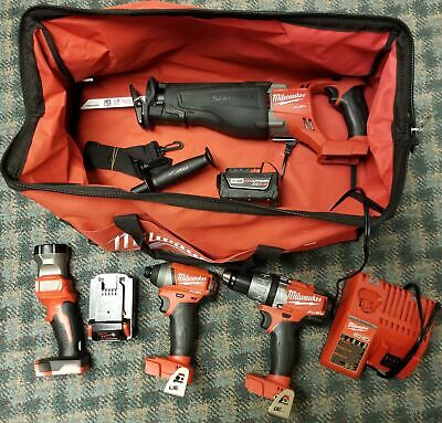 Milwaukee 2696-24 M18 Red Lithium Cordless Compact Combo 4 Tool Kit, 2 Batteries • 318.95£