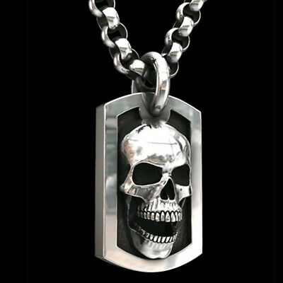 Gothic Mens Biker Big Skull Pendant Necklace Men Stainless Steel Chain Jewelry • 1.50£