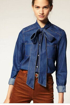 AU29 • Buy Asos Pussy Bow Denim Shirt Size 10 AS NEW