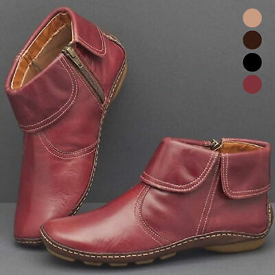 Women Retro Walking Arch Support Boots Faux Shoes Leather Zip Flat Ankle Booties • 14.32£