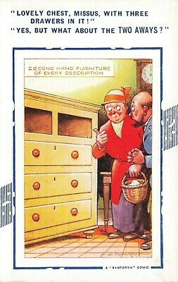 Bamforth Comic Postcard: Antique Shop & Second Hand Furniture Theme • 3.99£