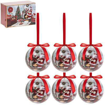 Festive Santa And Tree Set Of 6 Christmas Tree Bauble Decorations In Gift Box • 11.99£