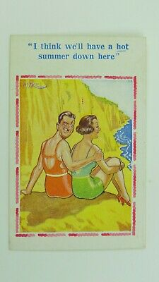 1950s Inter-Art Saucy Comic Postcard Bathing Beauty Swimsuit Holiday Romance • 3£