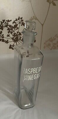 Vintage Clear Glass Apothecary Chemist Bottle + Stopper - RASPBERRY VINEGAR • 27.99£