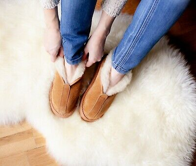 Womens Handmade Slippers 100% Real Leather Sheepskin Boots Warm Wool • 34.99£