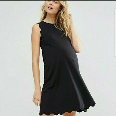 AU9.99 • Buy ASOS Maternity Black Shift Dress 10 Scallop Detail