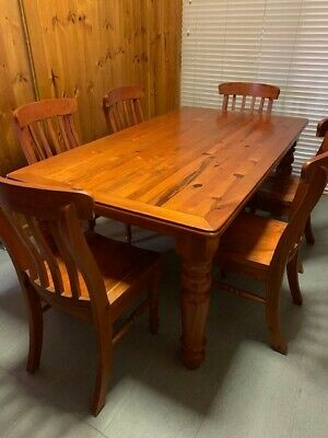 AU150 • Buy 6 Seater Solid Timber Dining Table With Chairs