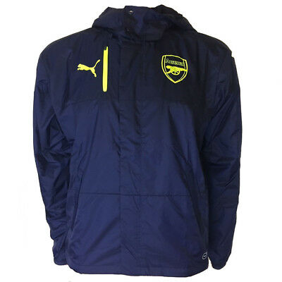 Arsenal FC Puma Mens Blue Football Training Rain Jacket 2016 2017 Size Small • 24.99£