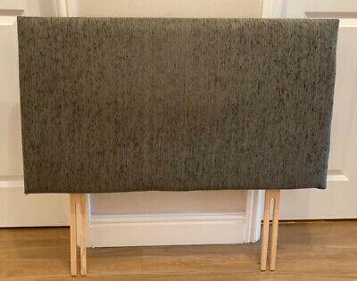 Single Bed, Grey Fabric-covered Headboard • 5£