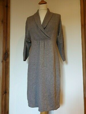 Monsoon Soft Knitted Long Sleeved Dress, Cotton Angora Mix Beige,  Size M • 15.99£