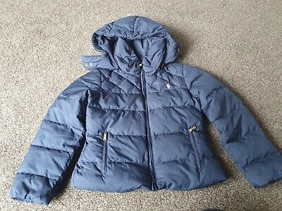 Girls Ralph Lauren Navy Down Puffer Coat .great Condition Age 8-10 • 8£