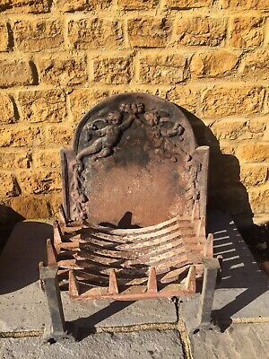 Vintage Cast Iron Fire Basket Grate And Vintage Cast Iron Fire Back Plate.. • 48£
