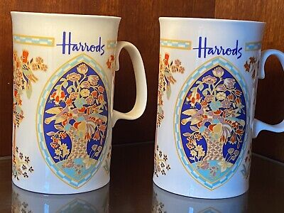 Set Of 2 Stunning Collectable Pair Harrods Of London Tall Fine Bone China Mugs • 19.99£