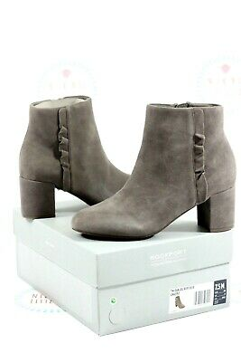 Rockport Women's Boots Oaklee Ruffle Taupe Suede Heeled Boots UK Size 5 • 45£