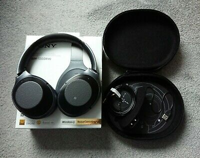 Sony WH-1000XM2 Bluetooth Over The Ear Headphones - Black Wireless Travel Case • 139.99£