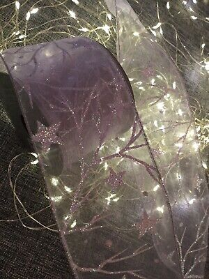 Gisela Graham Christmas Wired Ribbon 9m - Pale Lilac Organza With Glitter  New • 9£
