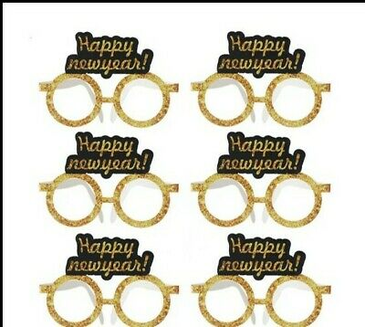 6Pcs 2021 Happy New Year Glitter Paper Glasses Eve Festival Party Decoration • 5.50£