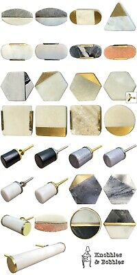 Stone Marble Knobs Handles Drawer Pull Cupboard Door Knobs White Grey Natural • 3.99£