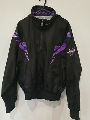 Asics Vintage Retro Shell Suit Track Top Size Small Hood Pockets On Trend... • 16£