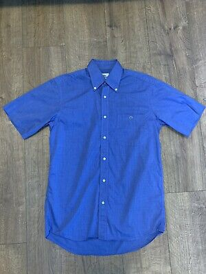 Lacoste Mens Short Sleeve Denim Look Blue Shirt Button Down Top Size 39 - Vvgc • 21.95£