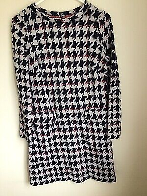 Boden Navy/Off White/Red Lined Houndstooth Jacquard Dress Pockets - Size 12R • 5.75£