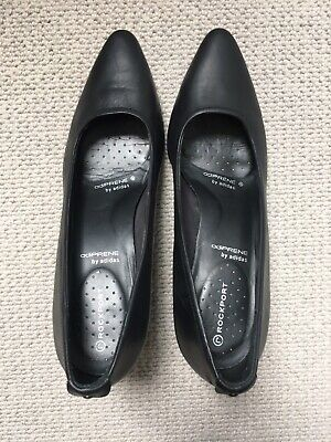 Rockport Black Leather Court Shoes Size 5.5 UK Pump Kitten Heel Comfy Great Cond • 4.99£
