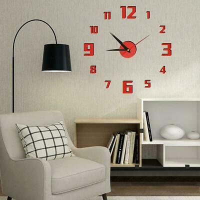 3D Large Wall Clock Design Acrylic Mirror Clocks Stickers Room Home Living A2N6 • 3.71£
