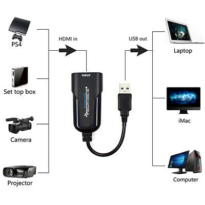 Portable USB To HDMI Video Capture Card HD 1080P Grabber Game Recording • 14.65£