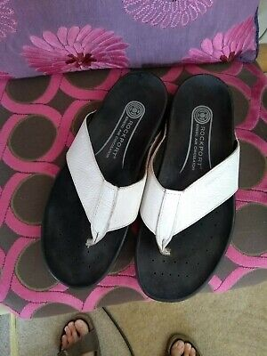Rockport White Leather Flip Flops Good Rarely Used Condition No Longer Wear... • 11.30£