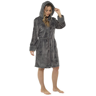Ladies Star Embossed Grey Zip Front Robe With Sherpa Trim • 22.99£