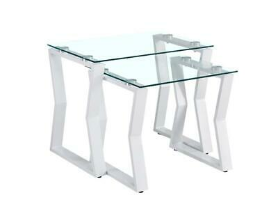 Kendal Clear Glass Metal Frame Nest Of Tables White (Set Of 2) • 119£