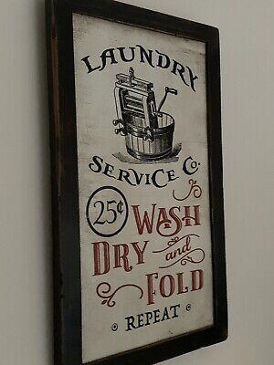 Vintage Washing Sign Picture Plaque Wood Black And Red  Shabby Chic • 8£