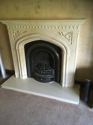 Fireplace Marble Effect And Gas Fire With Coals • 25£