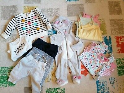10 Items Baby Twins Girl/boy Clothes Bundle Age 0-3 Months • 4£