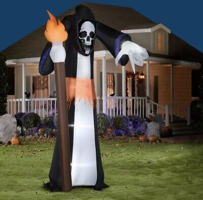 $ CDN125.38 • Buy New 11' Pointing Scary Grim Reaper Halloween Airblown Inflatable Outdoor Yard