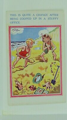 1950s Inter-Art Vintage Comic Postcard Seaside Holiday Office Job Buried In Sand • 3£