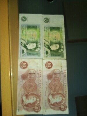Job Lot Of Old 10 Bob Note 10 Shillings And 1 Pound Notes.4 In Total. • 7£