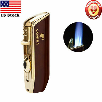COHIBA Cigar Cigarette Lighter Triple Jet Flame Punch Refillable Butane USA NEW • 10.68£