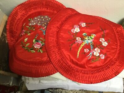 4 Oriental Style Satin Effect Red Floral Cushion Covers 49 Cm X 49 Cm Unused • 15£