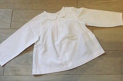 Jacadi Girl Long Sleeve White Blouse 36mths/3yo - Excellent Condition • 8£