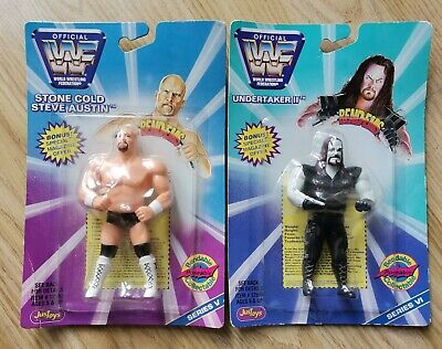 Wwf Moc Action Figures Wwe Toys Stone Cold Steve Austin And Undertaker Bendable • 19.99£