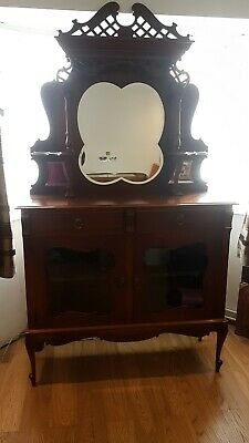 Antique Sideboard/ Cabinet, Ornate, Mahogany? With Mirror • 30£