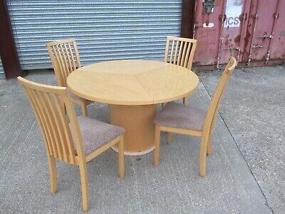 A Skovby Maple Circular Extending Dining Table And Four Chairs Light Danish Set • 595£