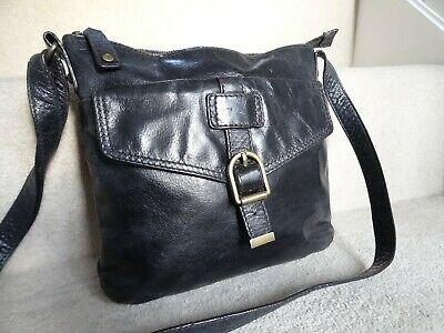 M&s Autograph Black Distressed Leather Crossbody Shoulder Bag Very Good Conditio • 15£