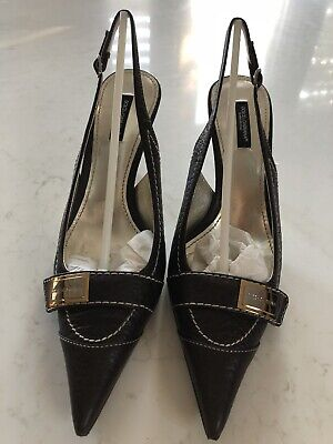 £125 • Buy Vintage Dolce & Gabbana Brown Leather Slingback Shoes Size 6 Barely Worn